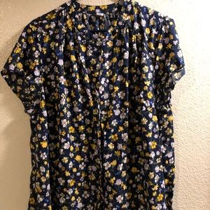 Floral Button-Front No-Peek Old Navy Blouse
